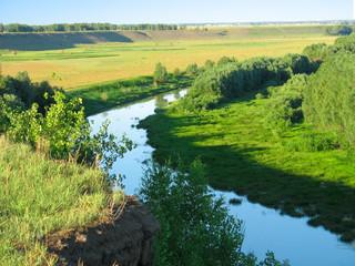 Summer landscape. Small river