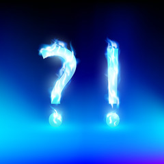 vector question mark and exclamation mark with a blue light