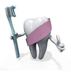 molar tooth with arms and toothbrush on hand, protected by pink