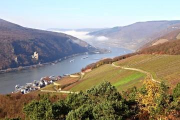 Oberes Mittelrheintal, vorn links Assmannshausen (November 2014)