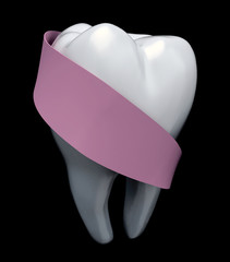 molar tooth protected by pink ribbon
