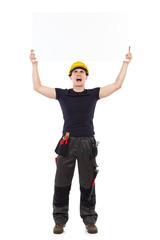 Shouting mechanic holding placard