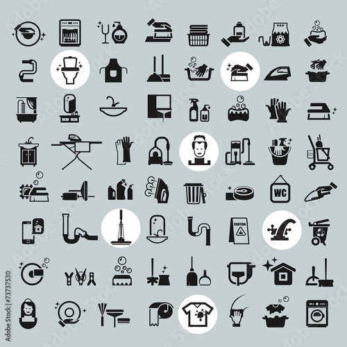 Cleaning Tools icons. vector black cleaning icons set - 73737530