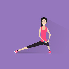 sport fitness woman exercise workout girl flat icon