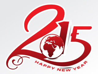 happy new year 2015 text background with globe