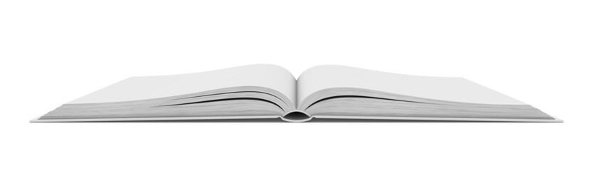 White blank open book on white background