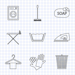 Laundry and cleaning icons