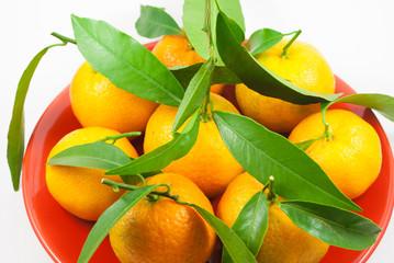 Orange mandarin / clementine / tangerine with green leafs