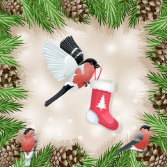 Pine cone with branch and bullfinch with socks