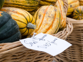Basket with squash on a farmers market