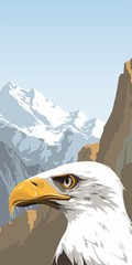 Eagle on a background of blue mountains