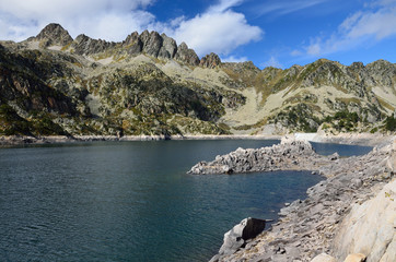 Artificial lake with a dam in the Haute-Pyrenees