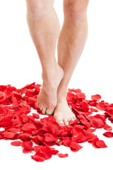 Female feet in red rose petals