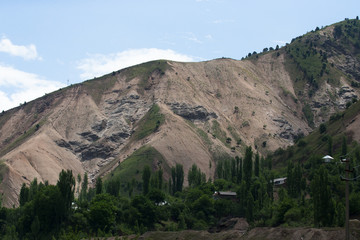 The village in the mountains. Landscape. Tazhdikistan