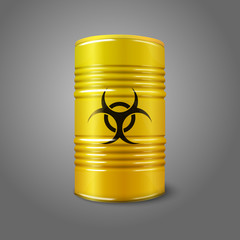 Realistic bright yellow big barrel with bio hazard sign,