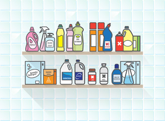 Detergents set on bathroom shelf