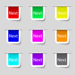 Next sign icon. Navigation symbol. Set of colored buttons.