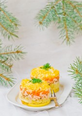 traditional Russian salad with a salmon Mimosa