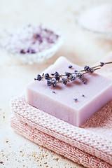 Natural Lavender Soap on a Bath Towel