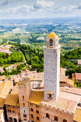 San Gimignano is a small walled medieval hill town in Tuscany