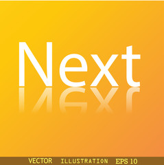 Next icon symbol Flat modern web design with reflection and