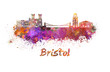 Bristol skyline in watercolor - 73740112