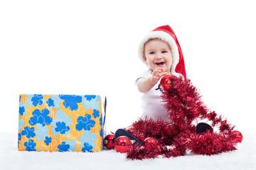 Baby boy with big present