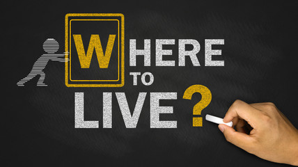 where to live concept on blackboard