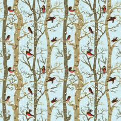 winter pattern with birds