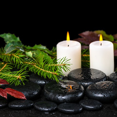 winter spa concept of zen basalt stones, evergreen branches, red