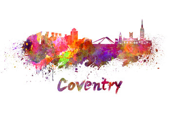 Coventry skyline in watercolor