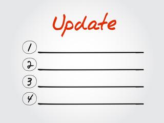 Blank Update list, vector concept background