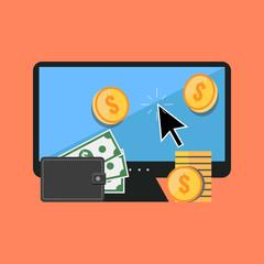 Making money online concept. Flat design stylish.