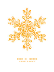 Vector golden lace roses Christmas snowflake silhouette pattern