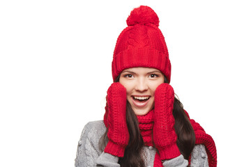 Surprised winter woman