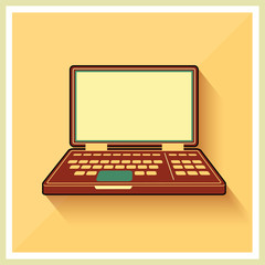 Laptop notebook personal computer flat vintage icon vector