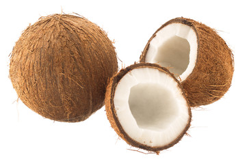 Round coconut and cracked coconut fruit