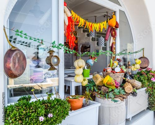 Keuken foto achterwand Boodschappen Traditional Greek food on the shop bench in Santorini
