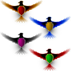 Bird Eagle with a shield; Totem; A symbol of pride; Eps8
