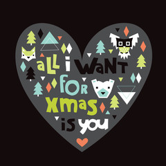 Christmas postcard fun hand lettering text and geometric shape