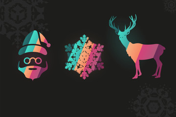 Santa snowflake reindeer combo