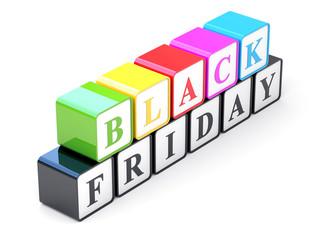 Black Friday cubes on white background