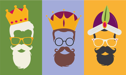 Reyes Magos Hipster the three wise men vector