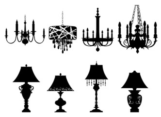 Chandelier and table Lamps Silhouettes. Vector illustration.