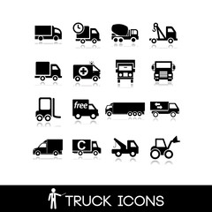 Truck black icon - Set 7