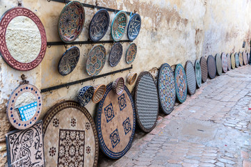Pottery and souvenirs market in the medina of Fez, Morocco