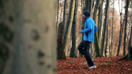 Young people jogging in autumn forest