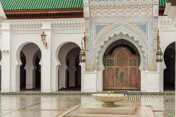 Court of the Madrasa Bou Inania in Fez, Morocco, Africa