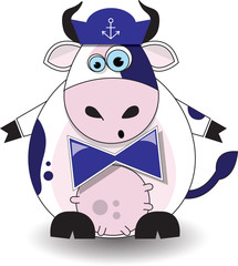 Cow sailor on a white background