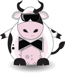Dairy cow with dark glasses